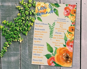 Watercolor Flowers Wedding Program