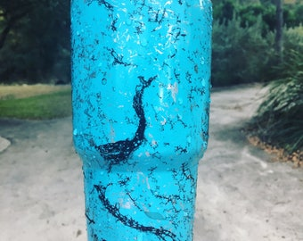 Turquoise and Silver Marbled YETI Rambler