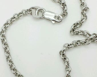 10k White Gold Rolo Anklet Chain 2.3mm summer anklet beach anklet best selling birthday gift 8.5-10 inches