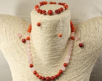 Coral Rose Quartz silver adornment