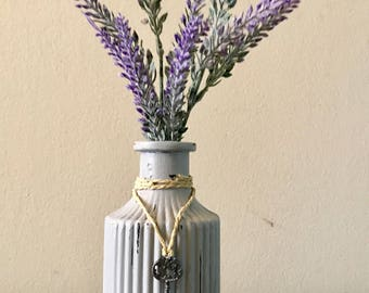 Shabby Chic Painted Glass Jar with Skeleton Key Accent