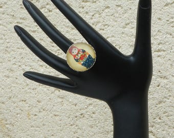 Nesting doll glass cabochon Adjustable ring
