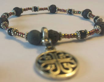 Celtic style charm bracelet with beautiful glass beads