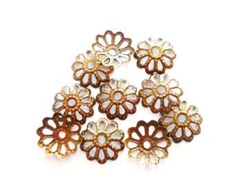 x 10 beads caps openwork flower bronze 8 mm x 8 mm