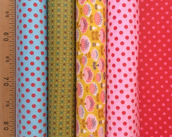 Assortment of 5 cut of cotton fabrics coated graphic motifs has themes-25X35cm