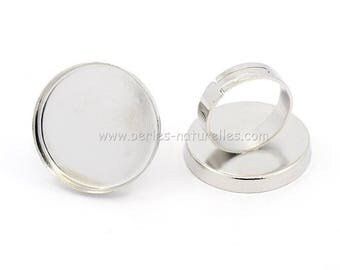 25mm - Silver Tone - Ring for cabochon 25mm
