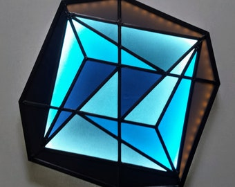 Stained Glass LED Lamp No.07. Geometric Wall Art. LED Light Wall Art. Geometric Stained Glass. LED Wall Lamp. Abstract Stained Glass Art.