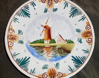 "Vintage Delft-Coloured Handpainted Holland Decorative Plate 6 3/4"" Windmill 3/1802 A"