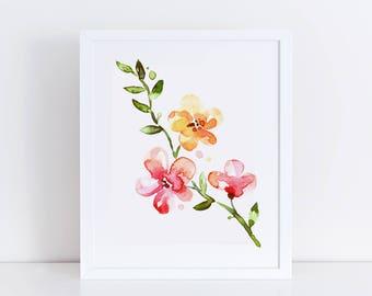 Floral Sprig I Left / Watercolor Printable Wall Art / Watercolor Flowers / Botanical Art Print / Floral Wall Art / Printable Home Decor