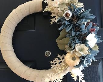 Blue mauve fall pumpkin wreath