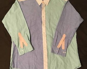 Vintage Chaps Ralph Lauren COLORBLOCK Mens Shirt L/S Sz XL 17 34/35 EUC