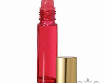 1 Red Glass 10 ml. -1/3 oz. ROLL ON Bottle with Gold metallic Cap essential oil perfume body fragrance attar oil cosmetic lip gloss DIY