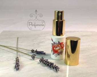 10 ml. 1/3 oz. Glass perfume spray ATOMIZER SPRAYER Gold White Opaque with Floral Decoration Empty New Refillable Beautiful! Gold Cap