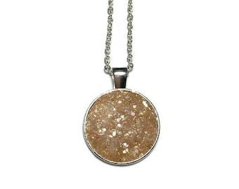 Druzy pendant, Druzy necklace, peach Druzy, Druzy jewelry, geode, geode pendant, geode necklace, under 20 dollars, silver pendant, boho