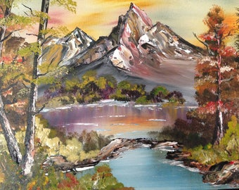 Handmade Acrylic Painting on Stretched Canvas 16x20,Landscape,Mountain Scenery,Lake&Trees,Wall Art,Living/Dining Room/Office,Holiday Gift