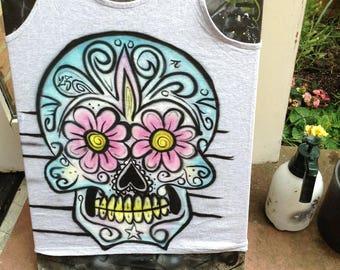 sugar skull airbrushed vest large