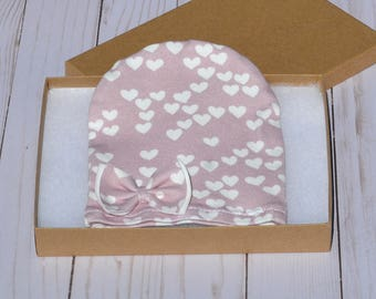 Cotton Baby Beanie, Newborn Girl Hat