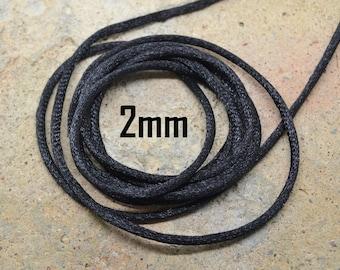 yarn by the yard nylon Black 2mm Rattail Cord shamballa macrame silk
