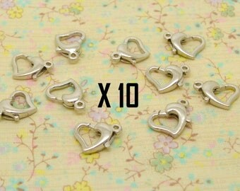 10 x heart 12mm silver plated lobster clasp / 9mm