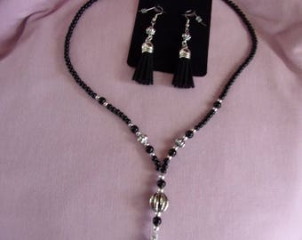 Black and silver necklace and earring set