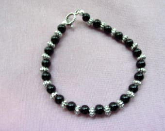 Mens Black Agate and Pewter bracelet