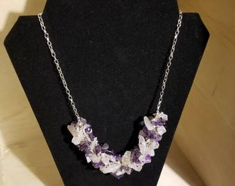 Amethyst and rose quartz gemstone cluster necklace,  with silver chain. Natural gemstone necklace.  Beaded chain necklace,  gifts for her.