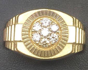 14 K Gold Men's Diamond 0.70 Ct Cluster Ring Available size 6-14