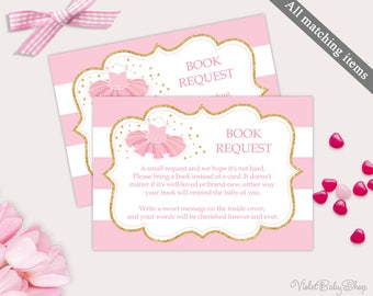 Book Request Template. Printable Tutu Book Request Card. Tutu Excited Baby Shower. Gold and Pink Blush Ballerina Pink and Gold Download