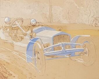 Ernest Montaut cut enhanced lithograph 1906 Motorsport - 20727 carts