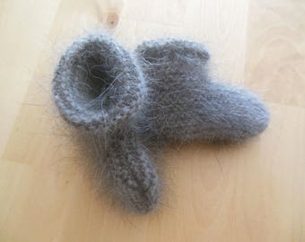Gray hand knitted baby booties
