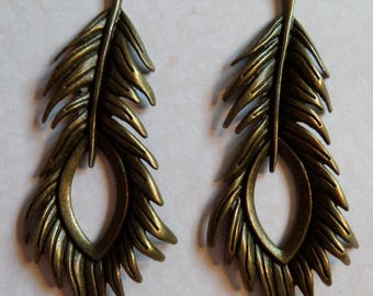 Package includes 2 large feather charms