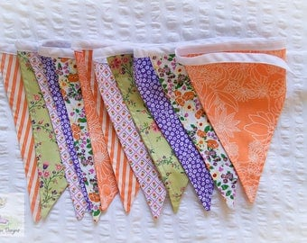 Retro Annie vintage 30s inspired purple, orange & green fabric bunting / pennant flags