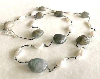 Elegant and Timeless Semi-precious Gemstone Necklace-Labradorite