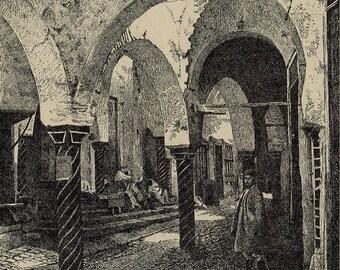 The Perfume Souk in Tunisia 1929 - Old Antique Vintage Engraving Art Print - Arch, Column, Gentleman, Pedestrian, Market, Steps, Chatting