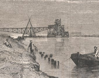 A view of the Maritime Canal at the crossing of Lake Menzaleh - Long Range Dredge, Egypt 1867 - Old Antique Vintage Engraving Art Print