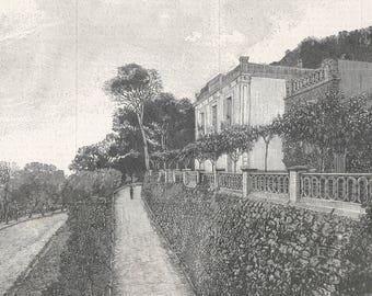 Algeria 1899, Villa of Bois de Boulogne, Algiers, residence of the Queen of Madagascar, Old Antique Vintage Engraving Art Print, Villa, Hous