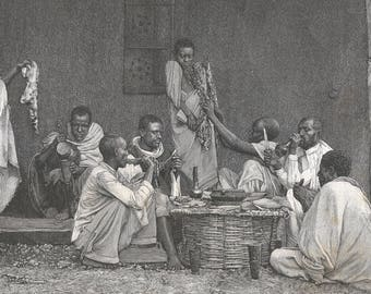 Djibouti 1889, Brondo Meal, Old Antique Vintage Engraving Art Print, Men, Woman, Outside, Table, Sitting, Banquet, Eating, Serving, Knife