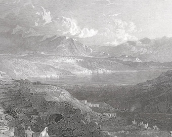 Palestine 1841, Lake of Tiberias, Or Sea of Galilee, Old Antique Vintage Engraving Art Print, Mountain, Sea, Cloud, Scenic, Brick, Man