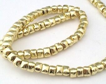5 irregular nuggets 7X4mm natural brass beads