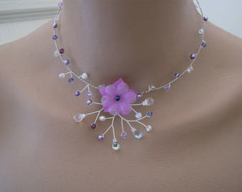 Original purple/violet/purple/white/Crystal p necklace dress of bride/wedding/party/ceremony/cocktail/flower beads