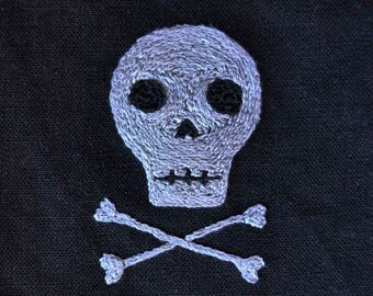 Victorian-Inspired Hand-Embroidered Memento Mori Skull Patch