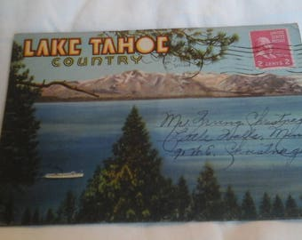 Vintage  Lake Tahoe postcard  mailer