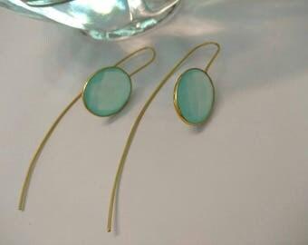 Delicate Green Chalcedony Earrings