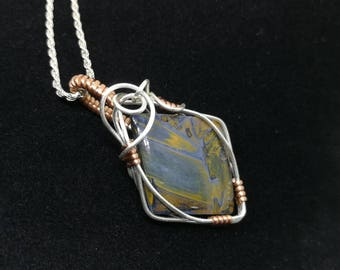 Pietersite wire wrapped pendant in silver and copper