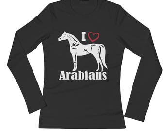 I Love Arabians Ladies Long Sleeve Jersey T-Shirt