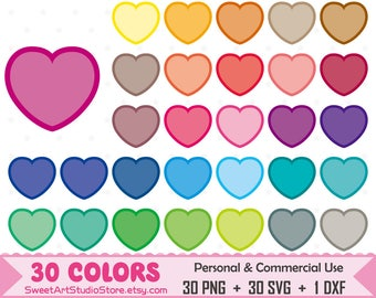 Heart Clipart, Valentines planner SVG Silhouette Cricut Cut File Commercial Use (Png Svg Dxf)