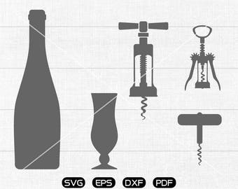 Red wine SVG, Bottle, Wine cup, Bottle opener svg Clipart, cricut, silhouette cut files commercial use