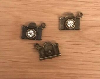5/10 Antique Bronze Camera Pendant Charms with Rhinestone 20mm x 15mm