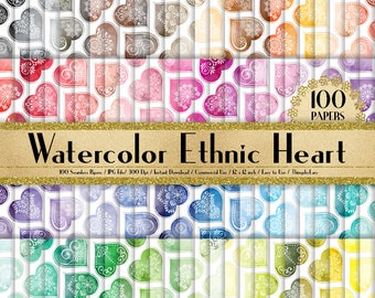 100 Watercolor Ethnic Heart Papers 12 inch,300 Dpi Planner Paper,Commercial Use,Scrapbook Paper,Rainbow Paper,100 Heart Papers,Watercolor