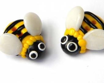 handmade polymer clay bee button